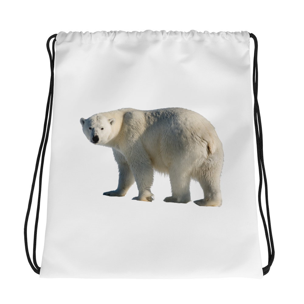 Polar-Bear Print Drawstring bag