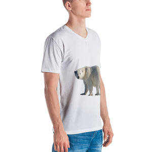 Polar Bear Print Men's V neck T-shirt