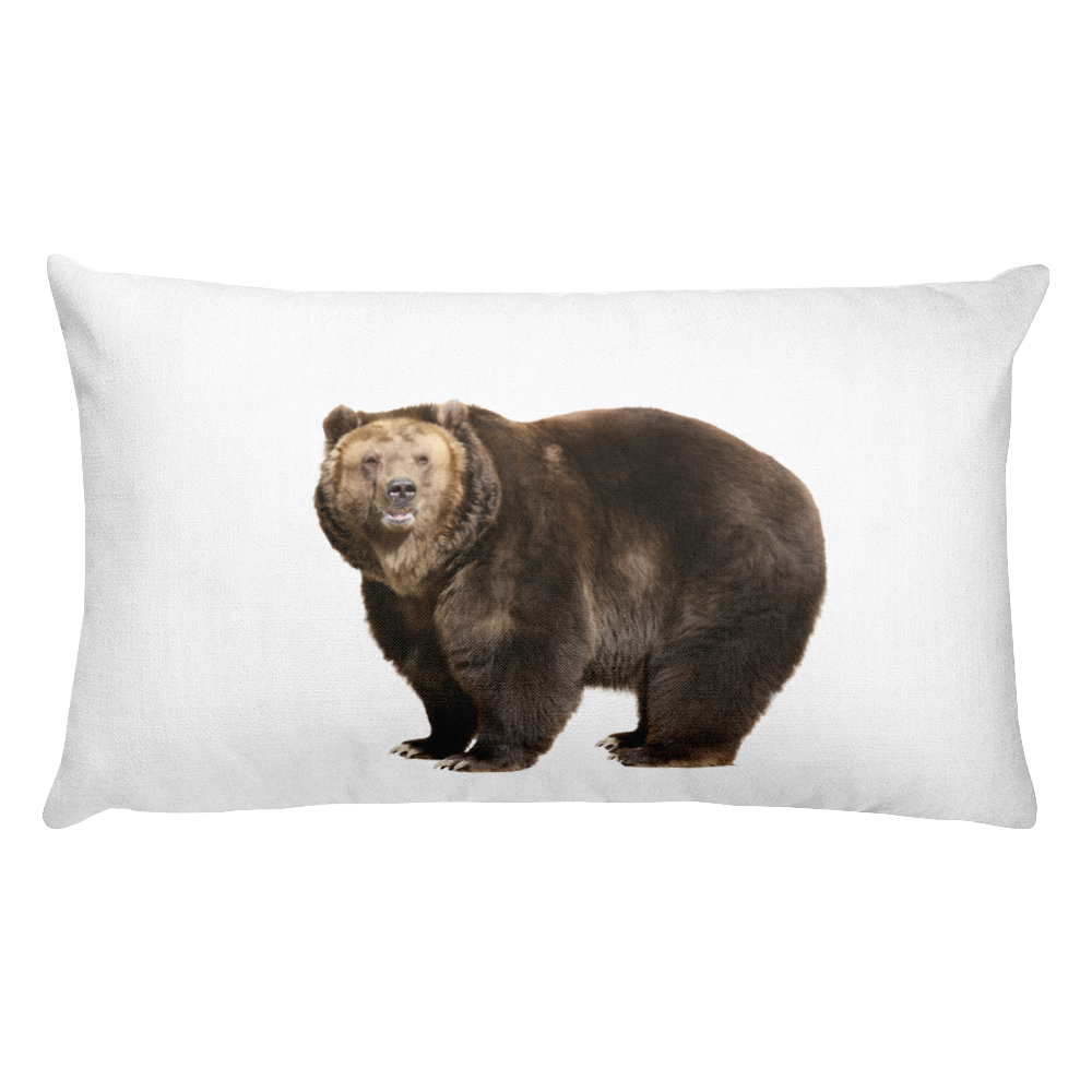 Brown-Bear Print Rectangular Pillow