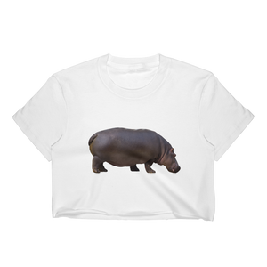 Hippopotamus Print Women's Crop Top