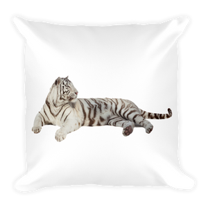 White-Tiger Print Square Pillow