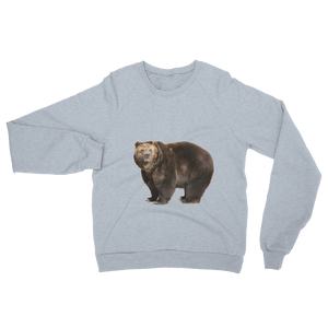 Brown-Bear Print Unisex California Fleece Raglan Sweatshirt