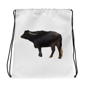 Water-Buffalo Print Drawstring bag