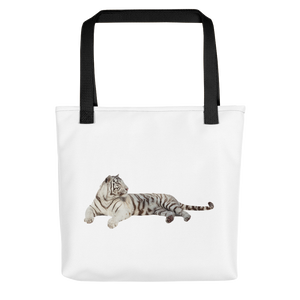 White-Tiger Print Tote bag