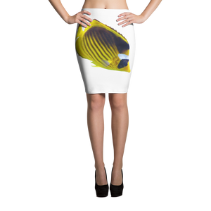 Butterfly-Fish Print Pencil Skirt