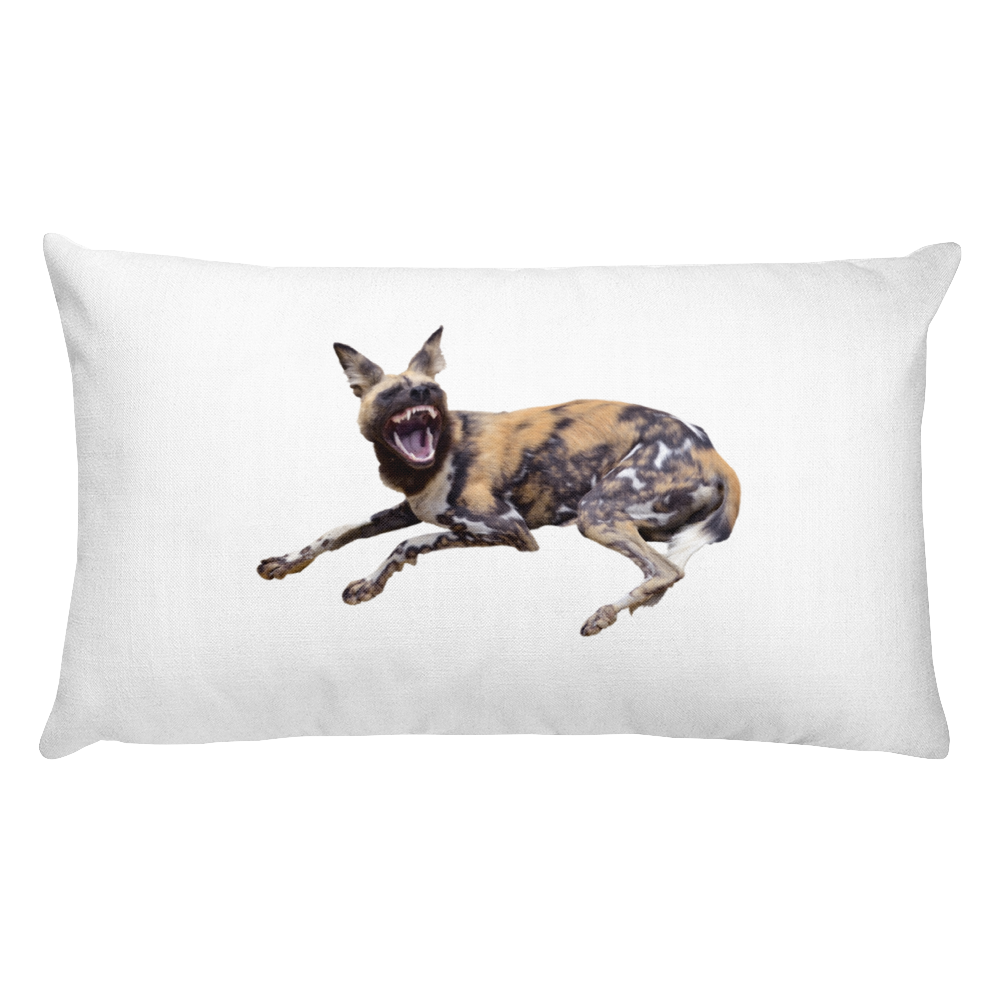 African-Wild-Dog Print Rectangular Pillow