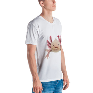 Axolotle Print Men's V neck T-shirt