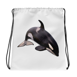 Killer-Whale Print Drawstring bag