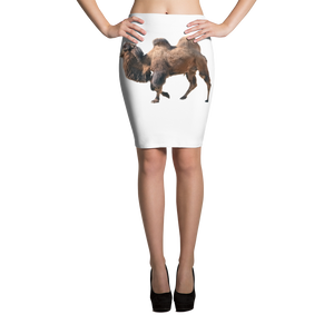 Bactrian-Camel- Print Pencil Skirt