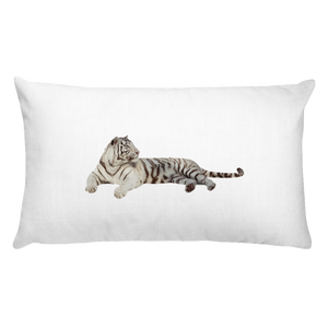 White-Tiger Print Rectangular Pillow