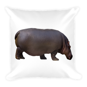 Hippopotamus Print Square Pillow