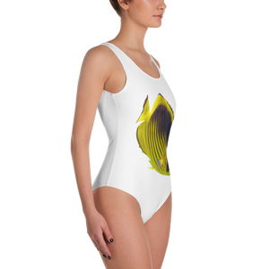Butterfly-Fish Print One-Piece Swimsuit