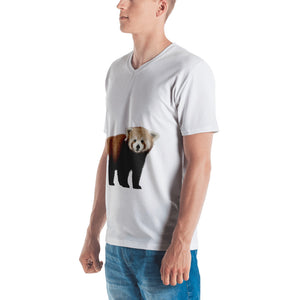 Red Panda Print Men's V neck T-shirt