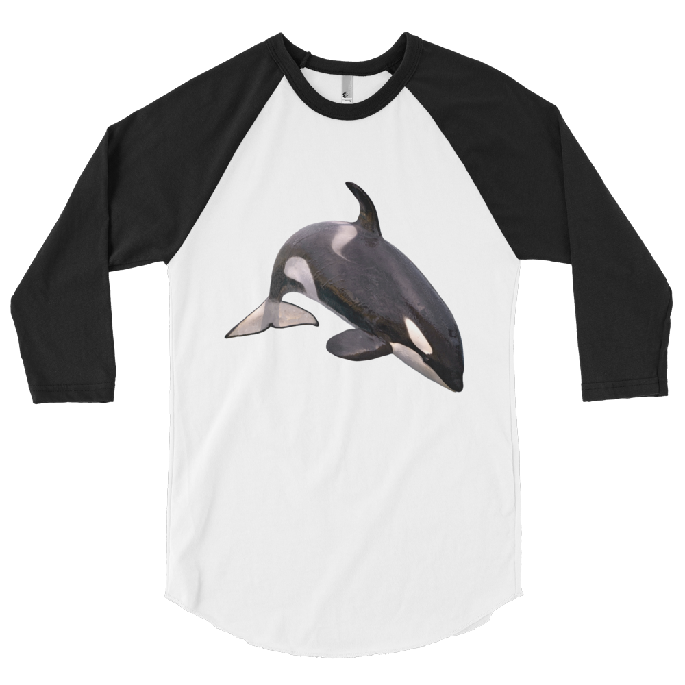 Killer-Whale Print 3/4 sleeve raglan shirt