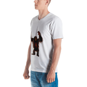 Orang-utan Print Men's V neck T-shirt