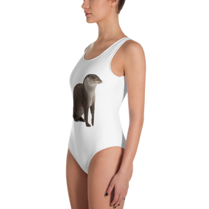 European-Otter Print One-Piece Swimsuit