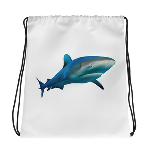 Great-White-Shark Print Drawstring bag