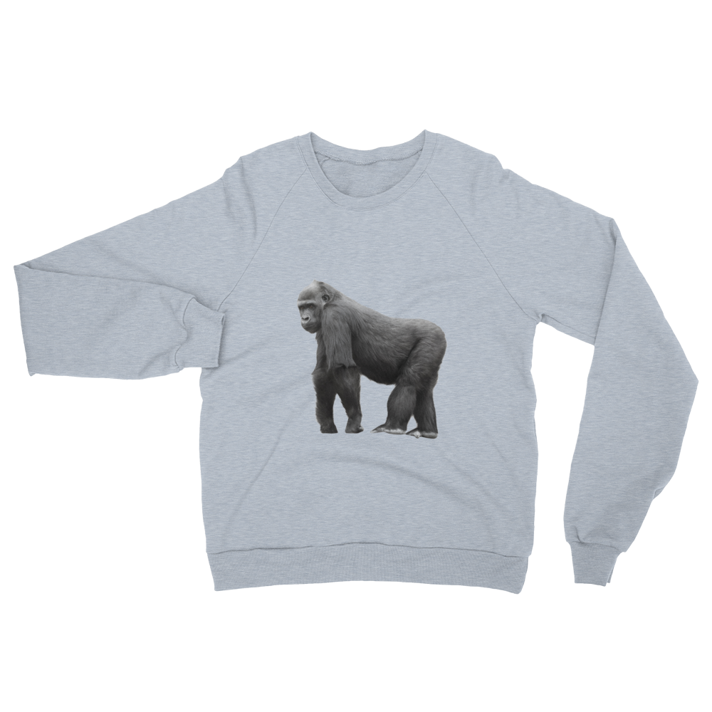 Gorilla print Unisex California Fleece Raglan Sweatshirt