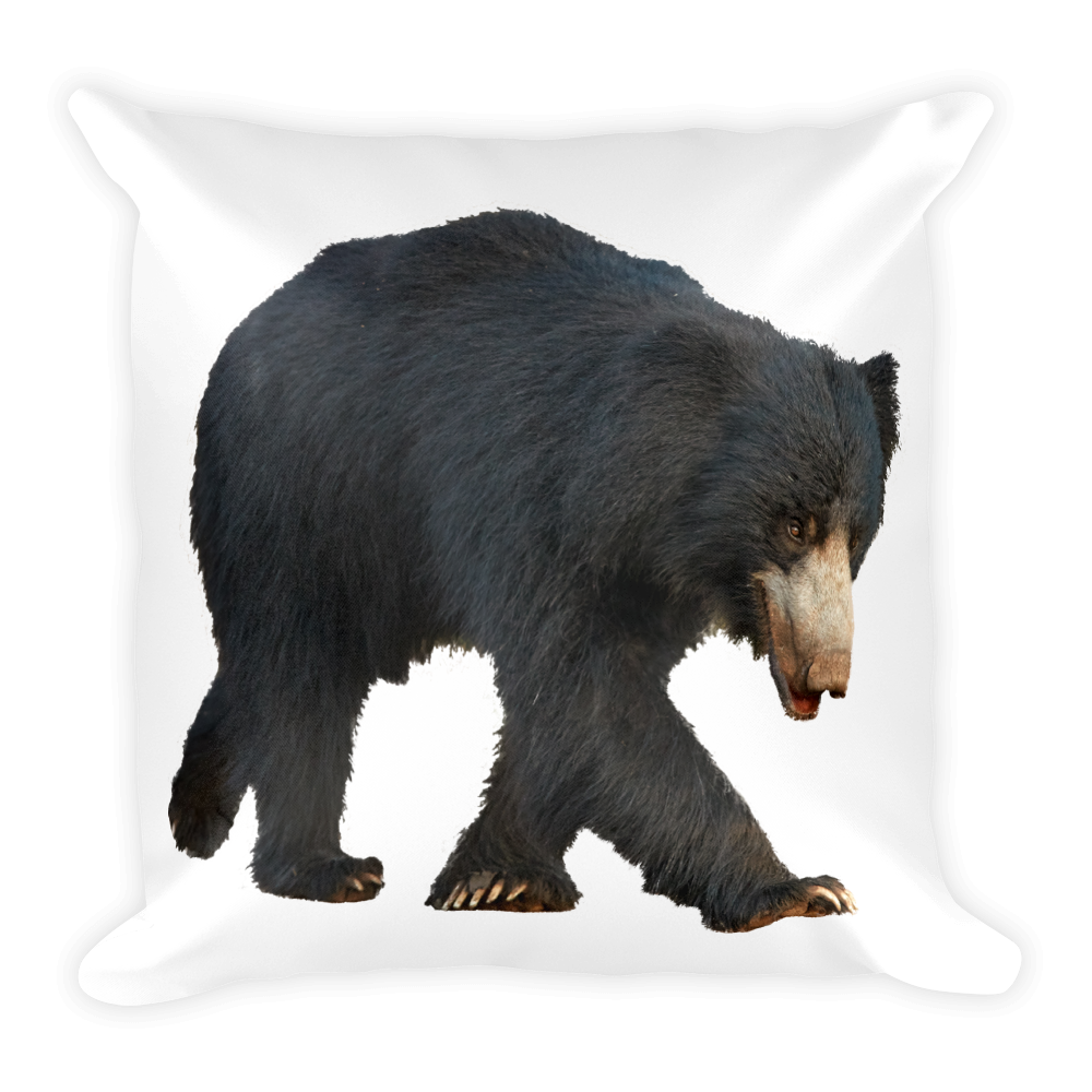 Sloth-Bear Print Square Pillow
