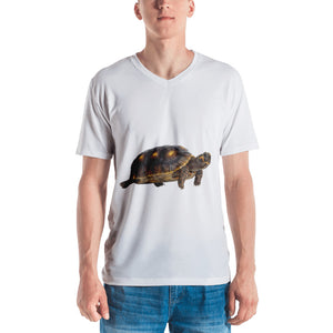 Tortoise Print Men's V neck T-shirt