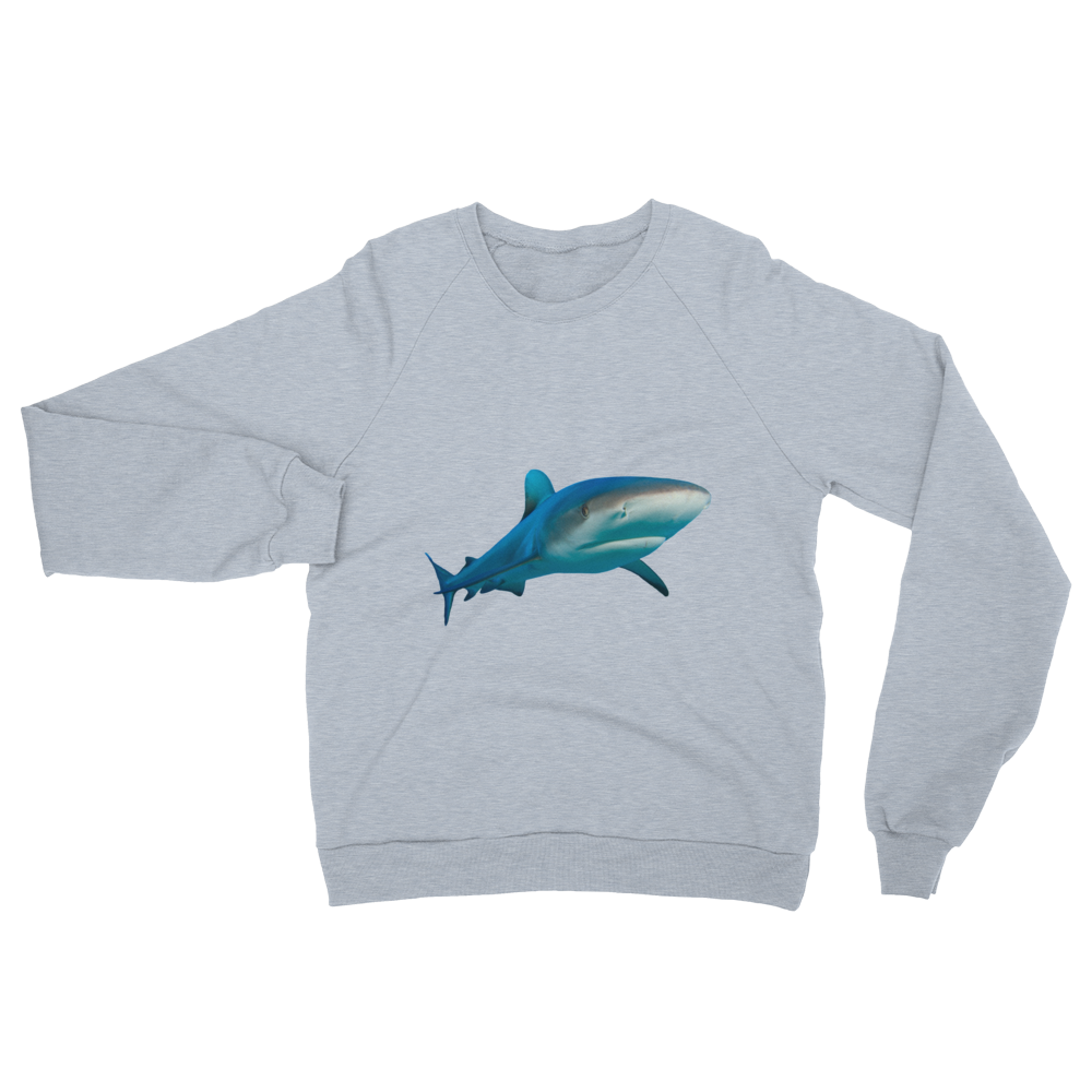 Great-White-Shark print Unisex California Fleece Raglan Sweatshirt