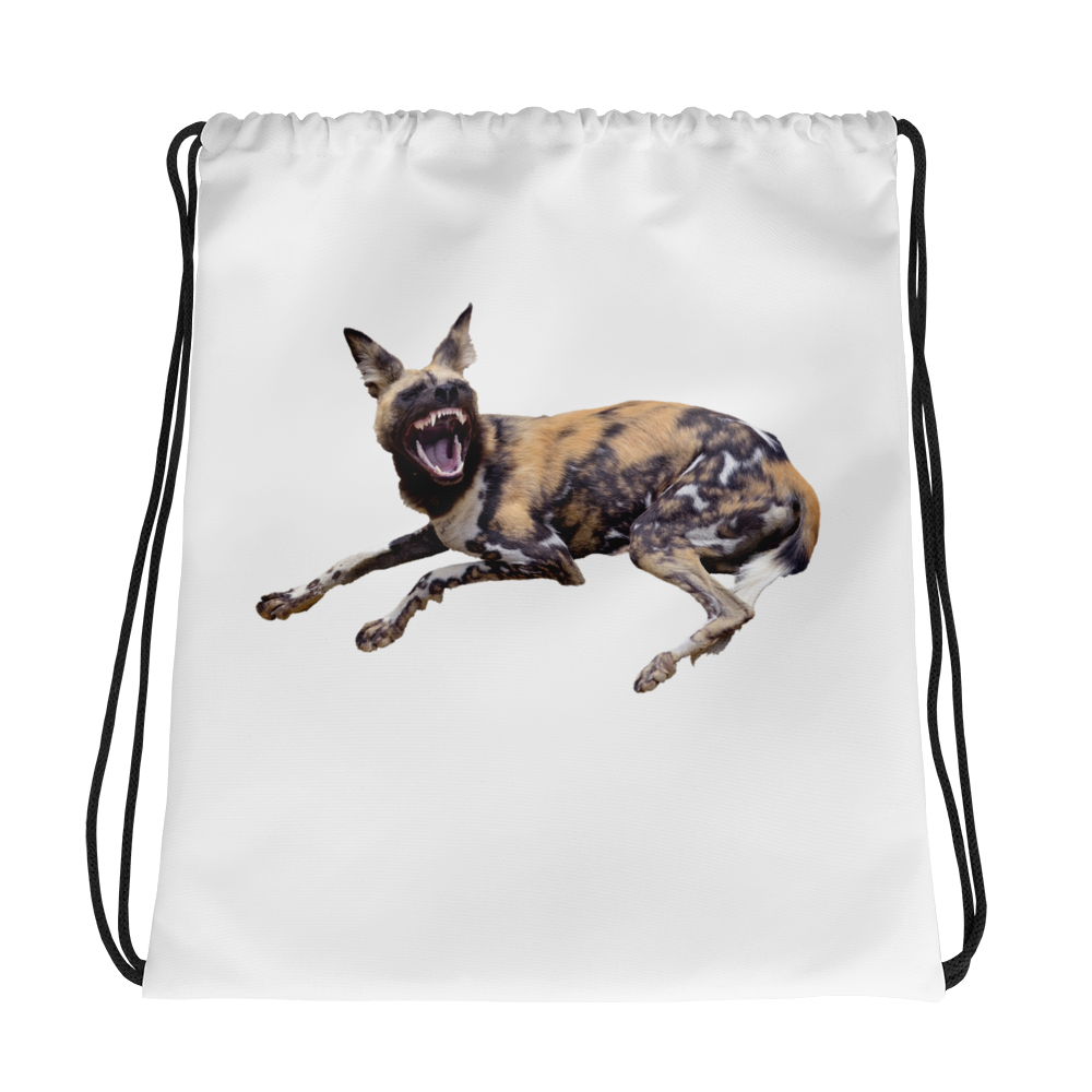 African-Wild-Dog Print Drawstring bag