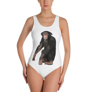 Chimpanzee Print One-Piece Swimsuit