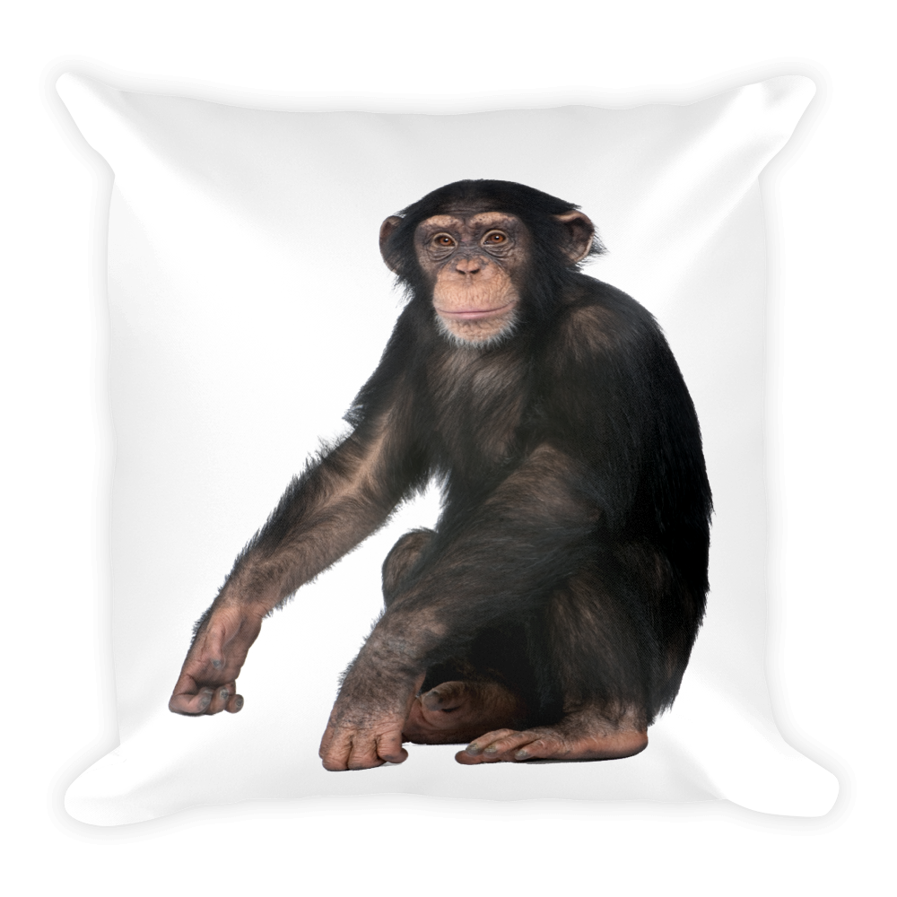 Chimpanzee Print Square Pillow