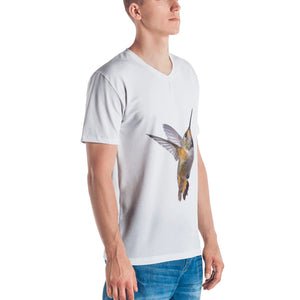 Hummingbird Print Men's V neck T-shirt