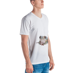 Tarsier Frog Print Men's V neck T-shirt
