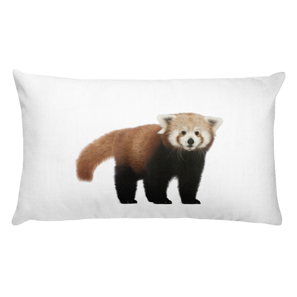 Red-Panda Print Rectangular Pillow
