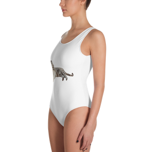 White-Tiger Print One-Piece Swimsuit