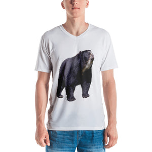 Spectacled Bear Print Men's V neck T-shirt