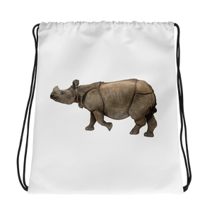 Indian-Rhinoceros Print Drawstring bag