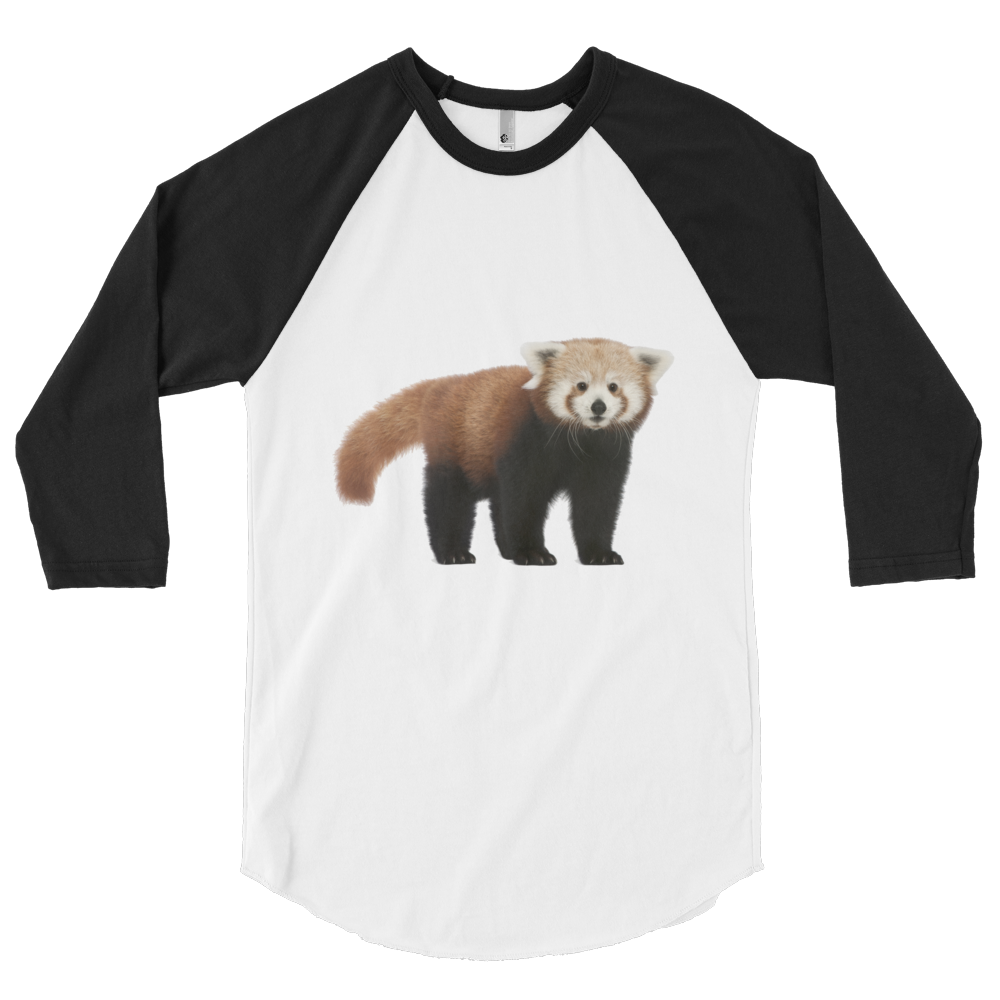 Red-Panda print 3/4 sleeve raglan shirt