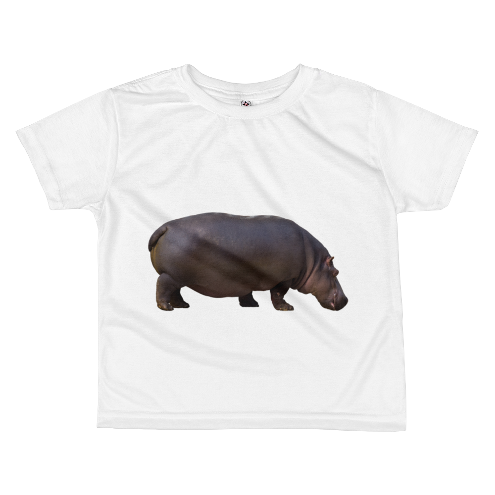 Hippopotamus Print All-over kids sublimation T-shirt
