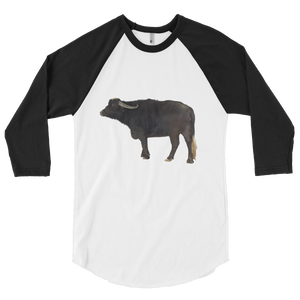 Water-Buffalo print 3/4 sleeve raglan shirt
