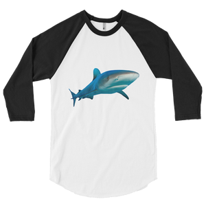 Great-White-Shark Print 3/4 sleeve raglan shirt