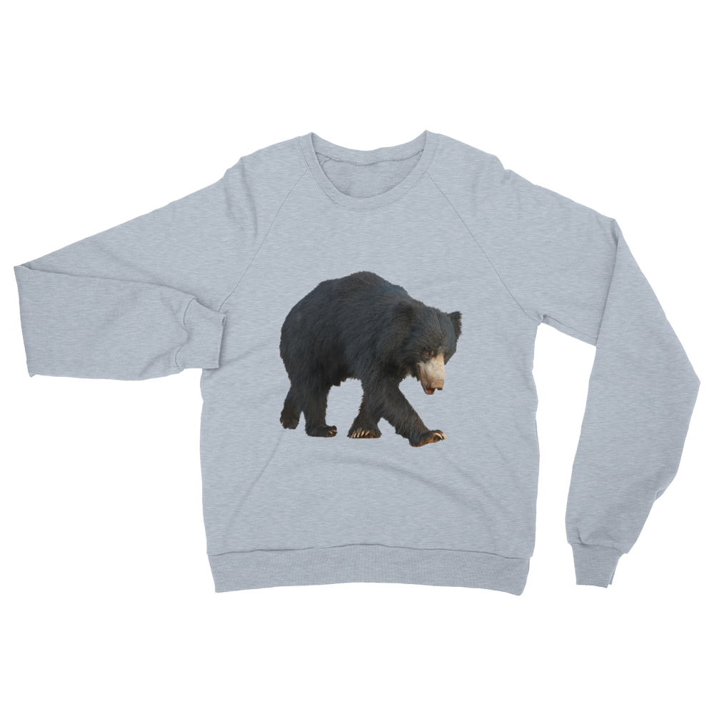 Sloth-Bear print Unisex California Fleece Raglan Sweatshirt