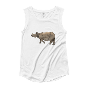 Indian-Rhinoceros Ladies‰۪ Cap Sleeve T-Shirt