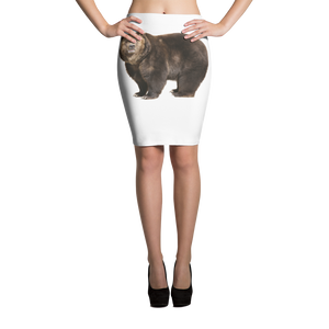 Brown-Bear Print Pencil Skirt