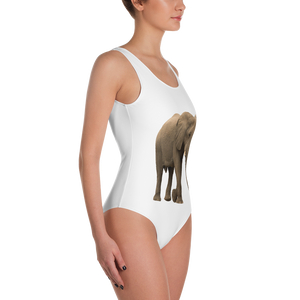 African-Forrest-Elephant Print One-Piece Swimsuit