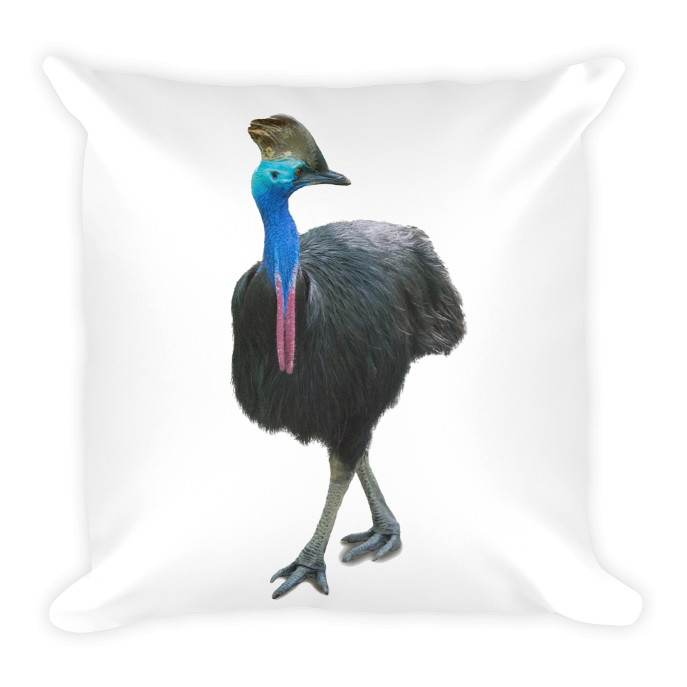 Cassowary Print Square Pillow