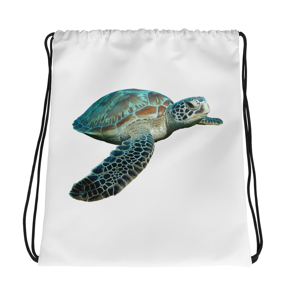 Sea-Turtle Print Drawstring bag