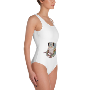 Tarsier-Frog Print One-Piece Swimsuit