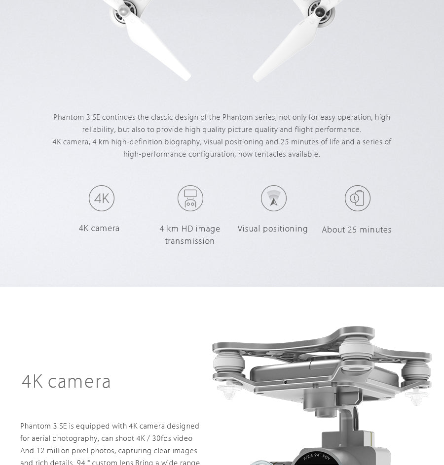 Dji Phantom 3 Se Drone With 4k Resolution Hd Camera Atmos Robotics