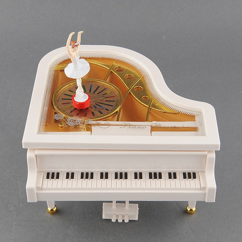 White Piano Ballerina Handmade Music Box