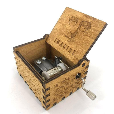 "John Lennon / The Beatles - ""Imagine"" Handmade Wooden Music Box"