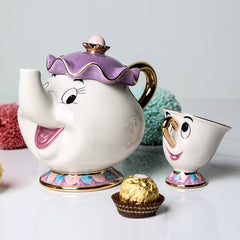 Image of Mrs. Potts & Chip - Tea Pot & Cup Set - Beauty and the Beast Tea Set