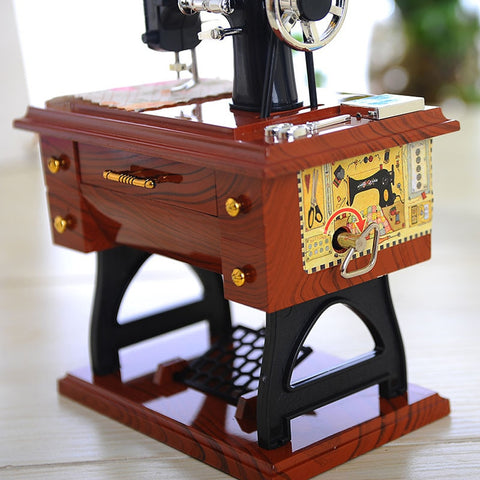 Vintage Sewing Machine Handmade Music Box